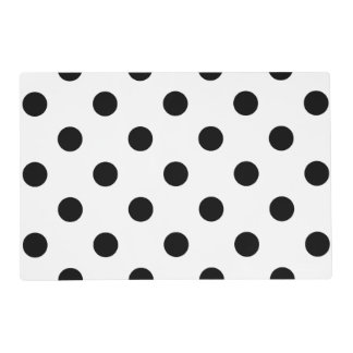 Large Polka Dots - Black on White Placemat