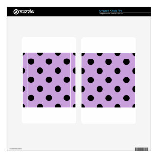 Large Polka Dots - Black on Wisteria Kindle Fire Skin