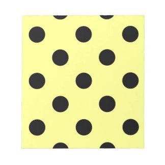 Large Polka Dots - Black on Yellow Notepad