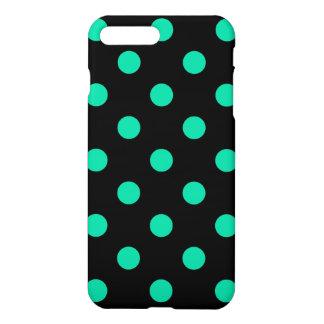 Large Polka Dots - Caribbean Green on Black iPhone 8 Plus/7 Plus Case