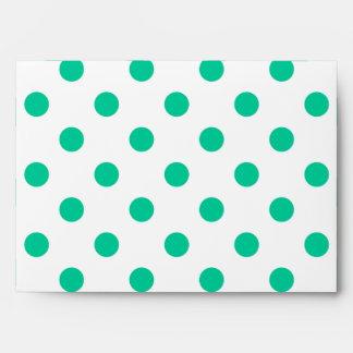 Large Polka Dots - Caribbean Green on White Envelope