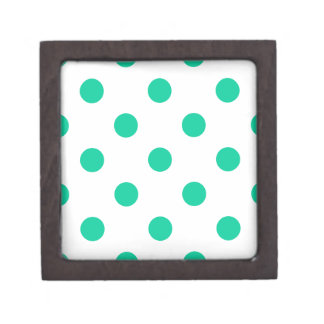 Large Polka Dots - Caribbean Green on White Gift Box