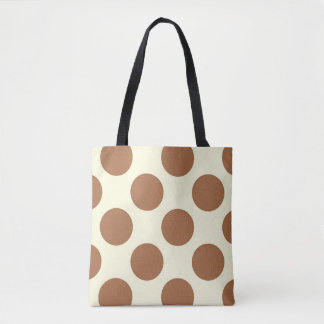 Large polka dots circles chocolate brown and cream tote bag