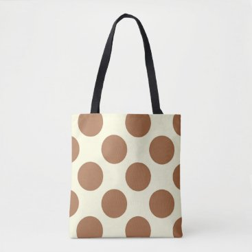 Beach Themed Large polka dots circles chocolate brown and cream tote bag