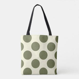 Large polka dots circles moss green and cream tote bag