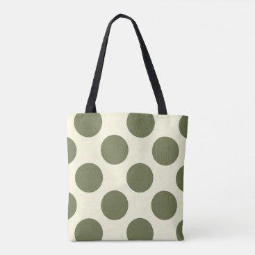 Beach Themed Large polka dots circles moss green and cream tote bag