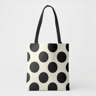 Large polka dots circles pattern black and cream tote bag