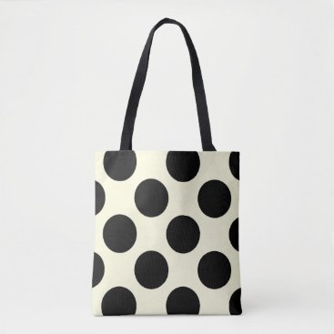 Beach Themed Large polka dots circles pattern black and cream tote bag