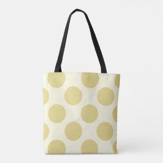Large polka dots circles pattern green and cream tote bag