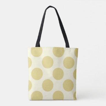 Beach Themed Large polka dots circles pattern green and cream tote bag