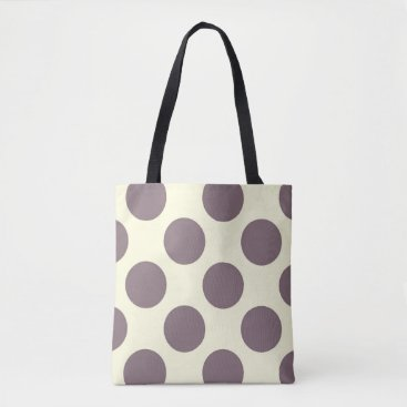 Beach Themed Large polka dots circles pattern purple and cream tote bag