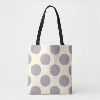 Large polka dots circles pattern purple and cream tote bag
