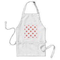 Large Polka Dots - Coral Pink on White Adult Apron