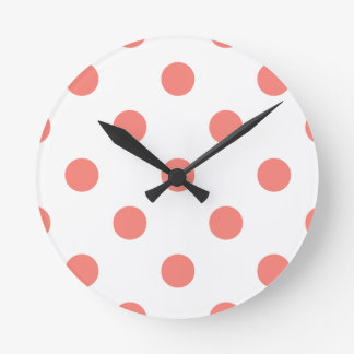 Large Polka Dots - Coral Pink on White Round Clock