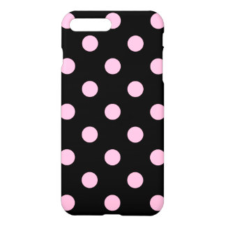 Large Polka Dots - Cotton Candy on Black iPhone 7 Plus Case