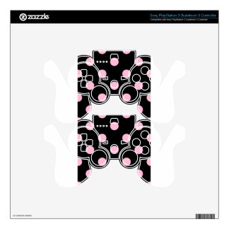 Large Polka Dots - Cotton Candy on Black PS3 Controller Skin