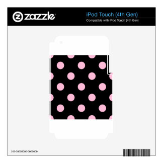 Large Polka Dots - Cotton Candy on Black Skins For iPod Touch 4G