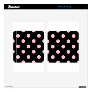 Large Polka Dots - Cotton Candy on Black Skins For Kindle Fire