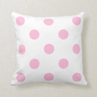 Large Polka Dots - Cotton Candy on White Throw Pillow