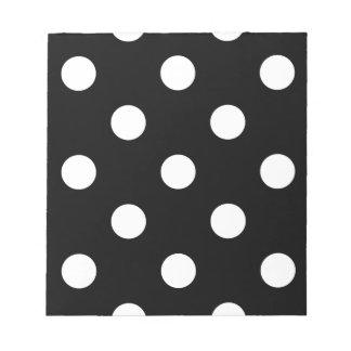 Large Polka Dots - Cream on Black Notepad