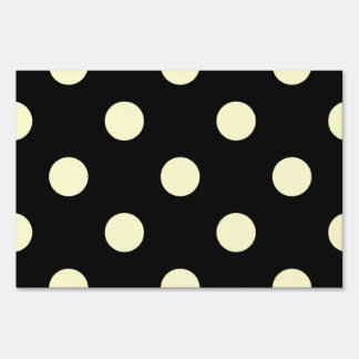 Large Polka Dots - Cream on Black Sign