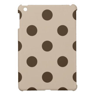 Large Polka Dots - Dark Brown on Light Brown Cover For The iPad Mini