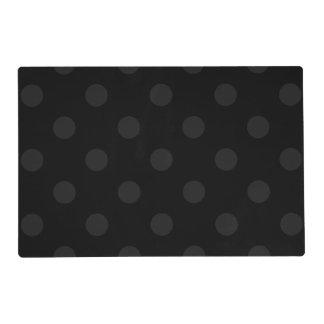 Large Polka Dots - Dark Gray on Black Placemat