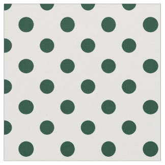 Large Polka Dots - Dark Green on White Fabric