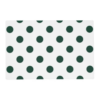 Large Polka Dots - Dark Green on White Placemat