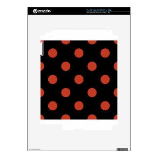 Large Polka Dots - Dark Pastel Red on Black iPad 2 Skins