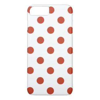 Large Polka Dots - Dark Pastel Red on White iPhone 7 Plus Case