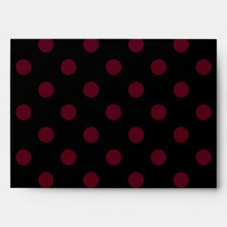 Large Polka Dots - Dark Scarlet on Black Envelope
