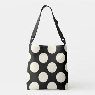 Beach Themed Large polka dots design black and white crossbody bag