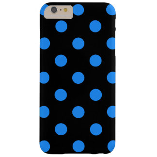 Large Polka Dots - Dodger Blue on Black Barely There iPhone 6 Plus Case