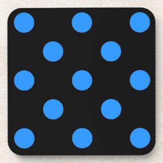 Large Polka Dots - Dodger Blue on Black Beverage Coaster