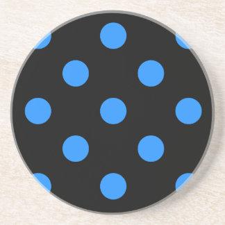 Large Polka Dots - Dodger Blue on Black Drink Coaster