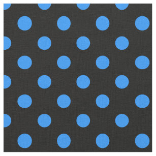 large polka dots dodger blue on black fabric