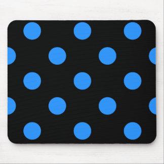 Large Polka Dots - Dodger Blue on Black Mouse Pad