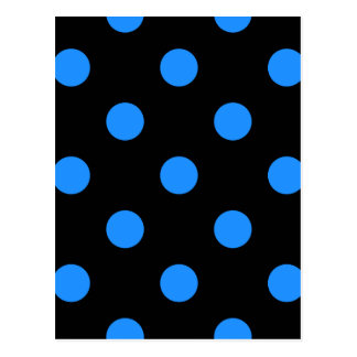 Large Polka Dots - Dodger Blue on Black Postcard