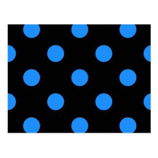 Large Polka Dots - Dodger Blue on Black Postcard