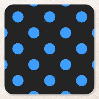 Large Polka Dots - Dodger Blue on Black Square Paper Coaster