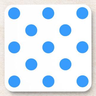 Large Polka Dots - Dodger Blue on White Beverage Coaster