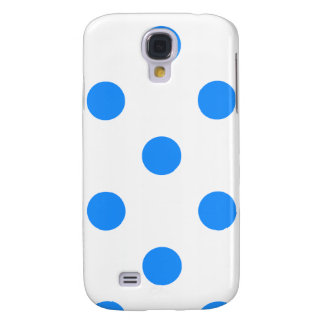 Large Polka Dots - Dodger Blue on White Galaxy S4 Cover