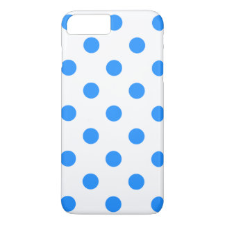 Large Polka Dots - Dodger Blue on White iPhone 8 Plus/7 Plus Case