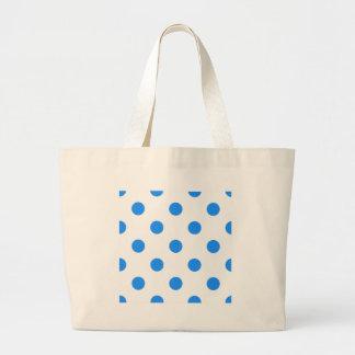 Large Polka Dots - Dodger Blue on White Large Tote Bag