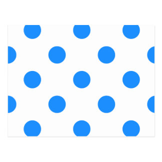 Large Polka Dots - Dodger Blue on White Postcard