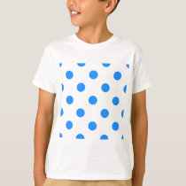 Large Polka Dots - Dodger Blue on White T-Shirt