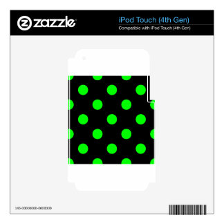 Large Polka Dots - Electric Green on Black Decals For iPod Touch 4G