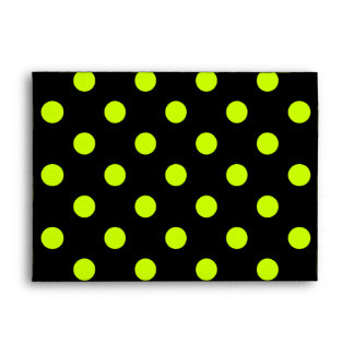 Large Polka Dots - Fluorescent Yellow on Black Envelope