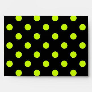 Large Polka Dots - Fluorescent Yellow on Black Envelope